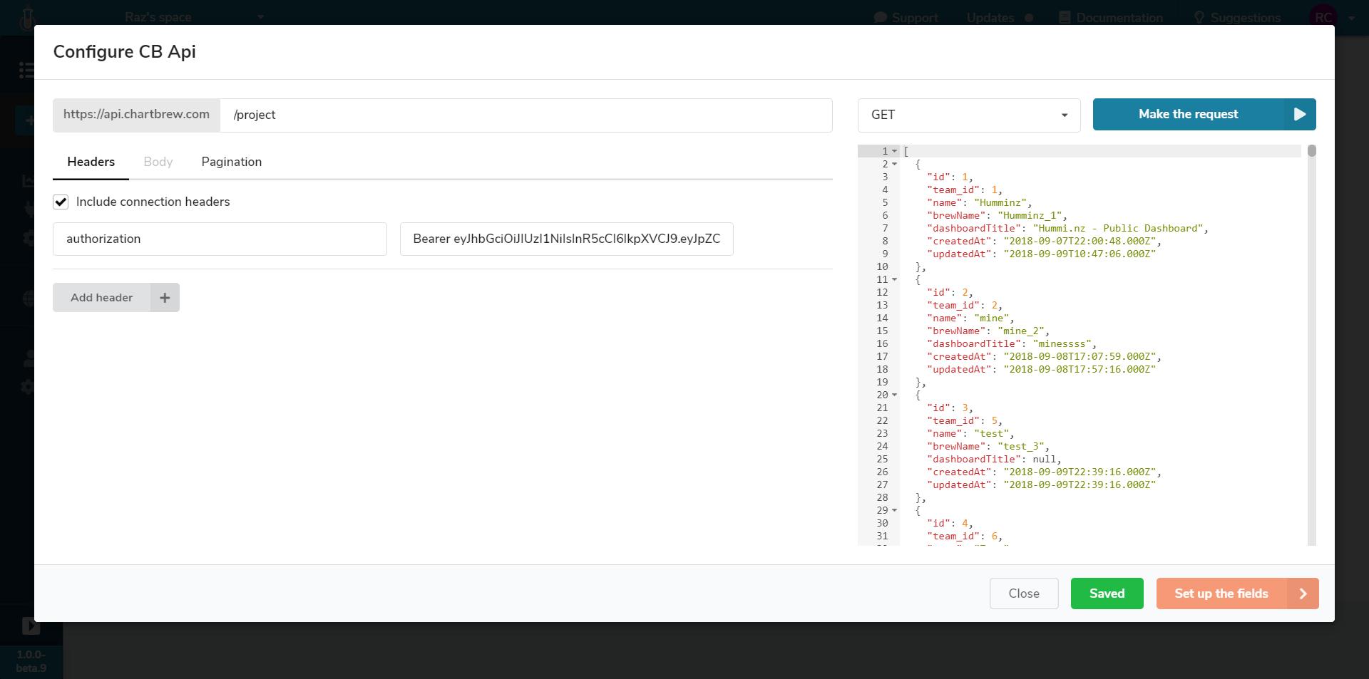 Chartbrew API configuration