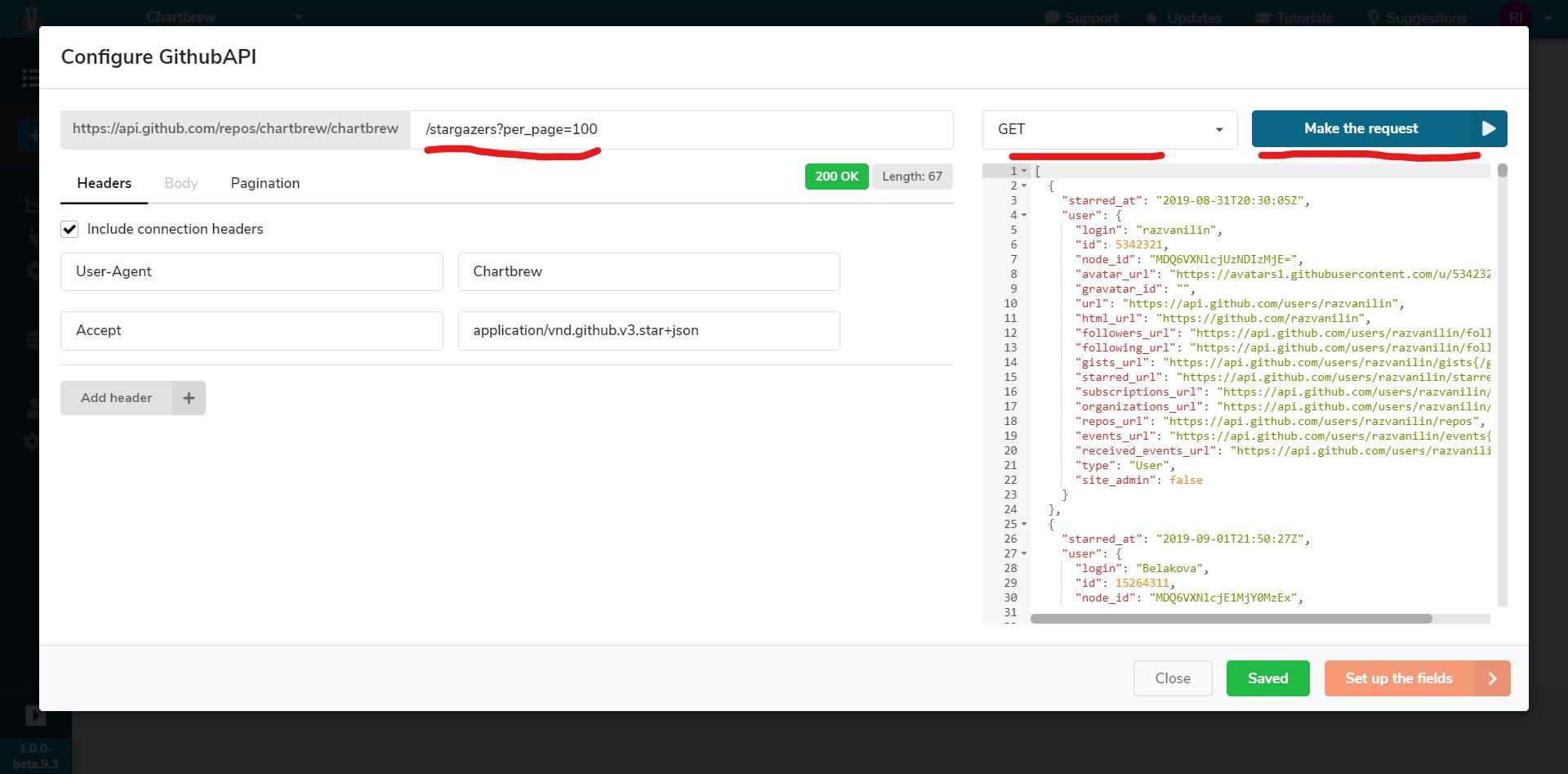 API request configuration in Chartbrew