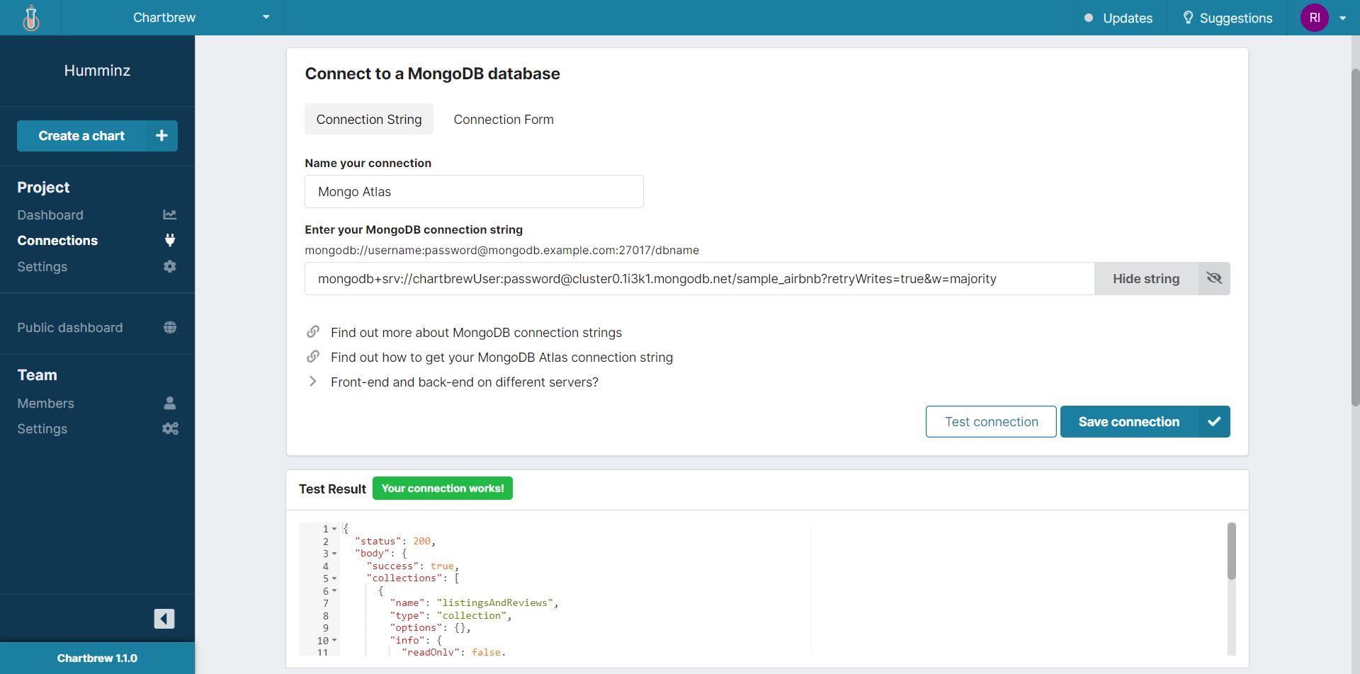 MongoDB dashboard connection