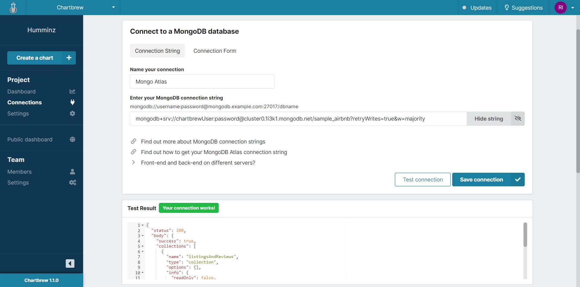 MongoDB dashboard connection