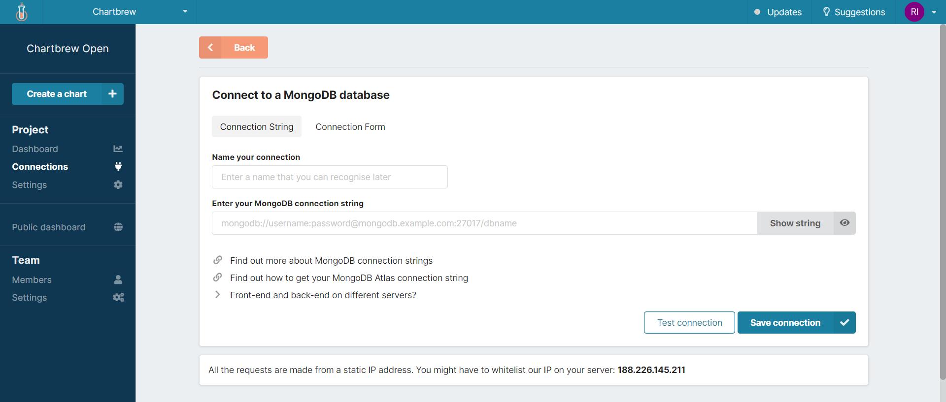 MongoDB data connection form