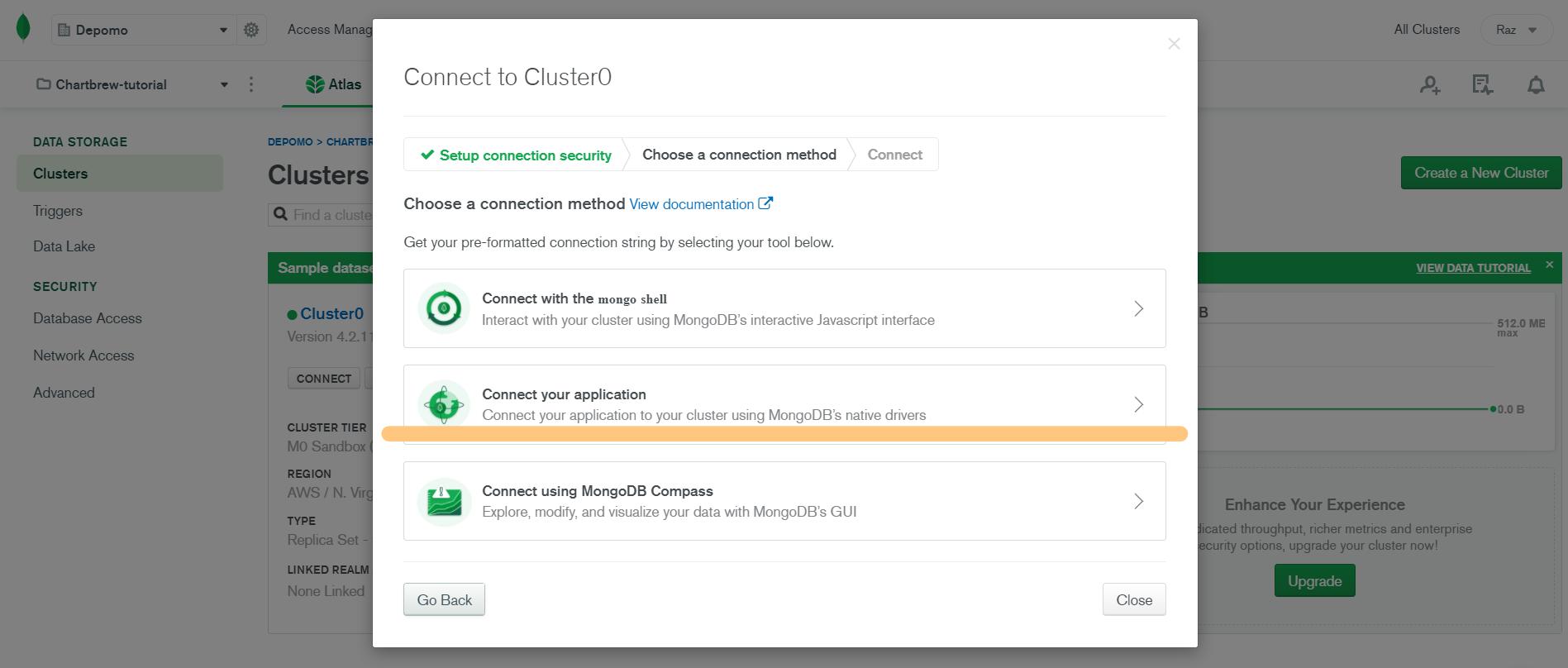 MongoDB connect application