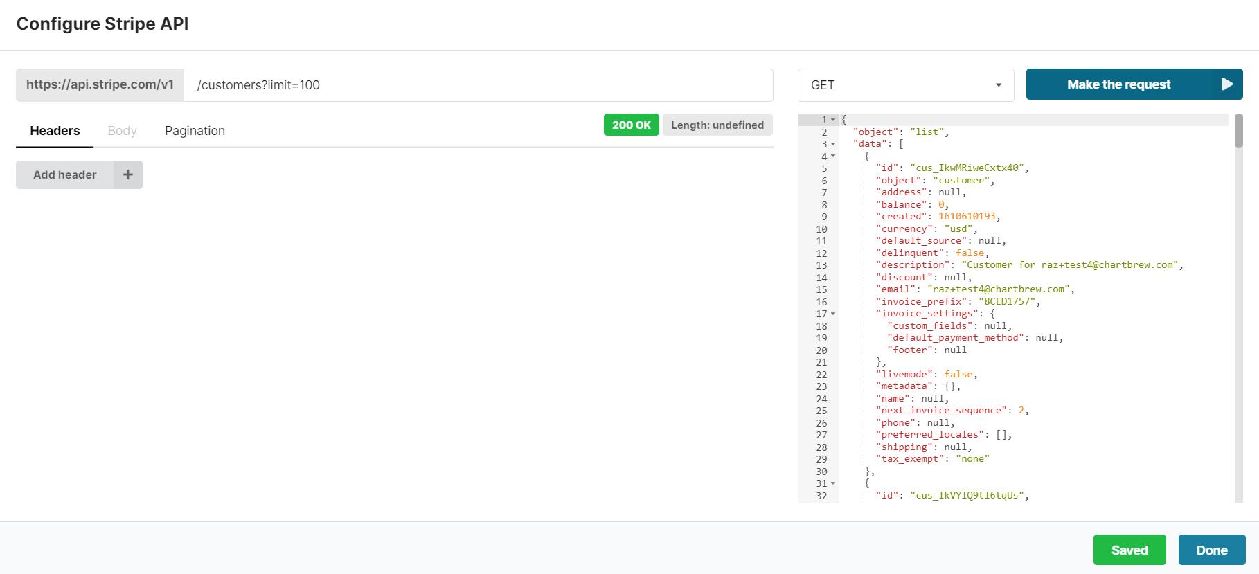Stripe API builder in Chartbrew