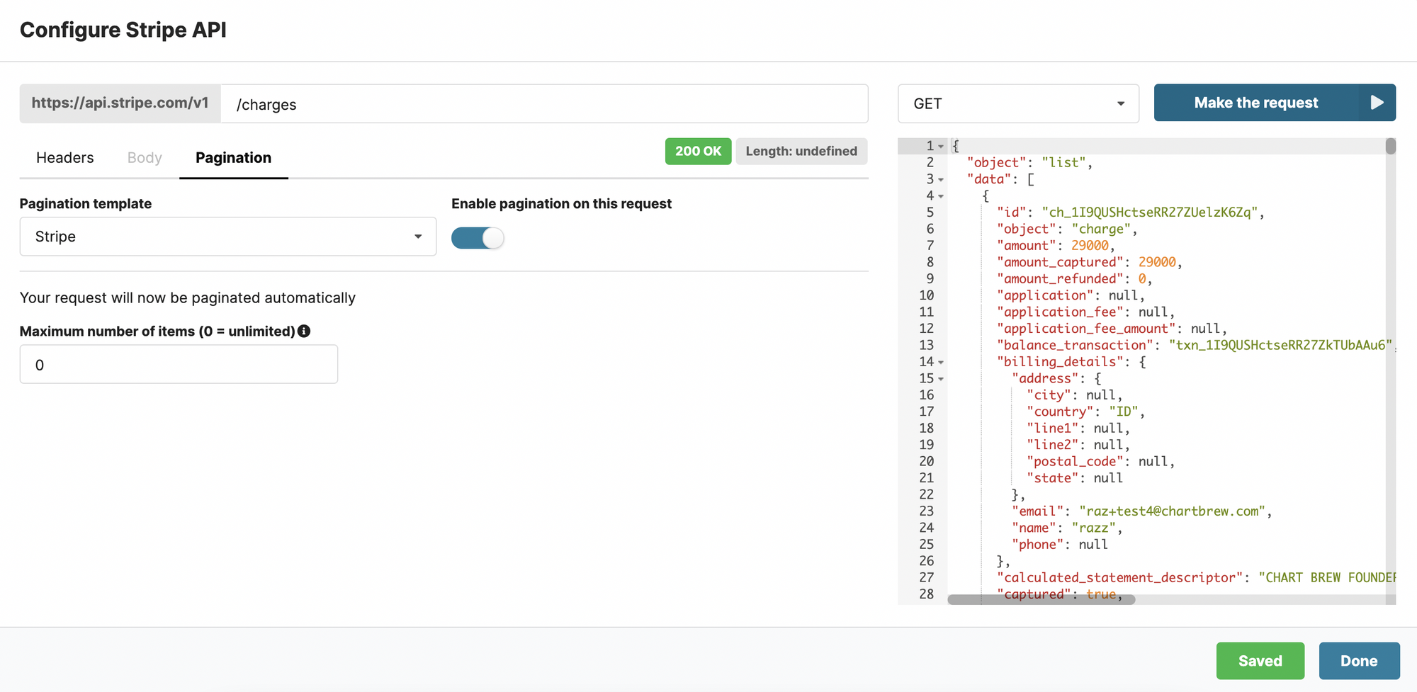 Stripe API request in Chartbrew