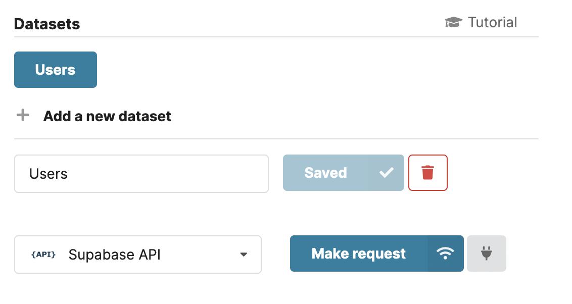 Connect Chartbrew dataset to Supabase API