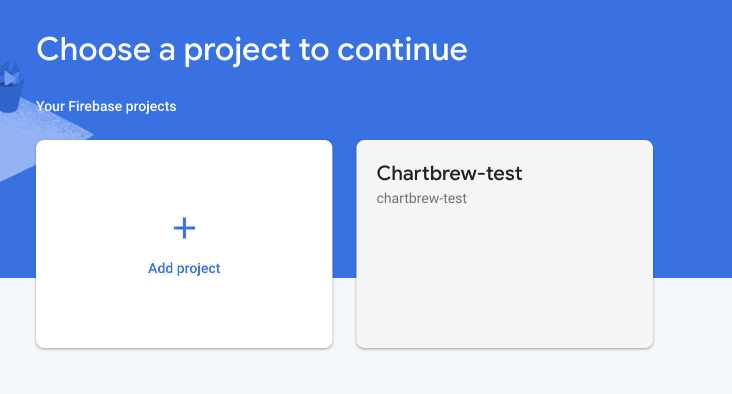Firebase projects to connect to Chartbrew