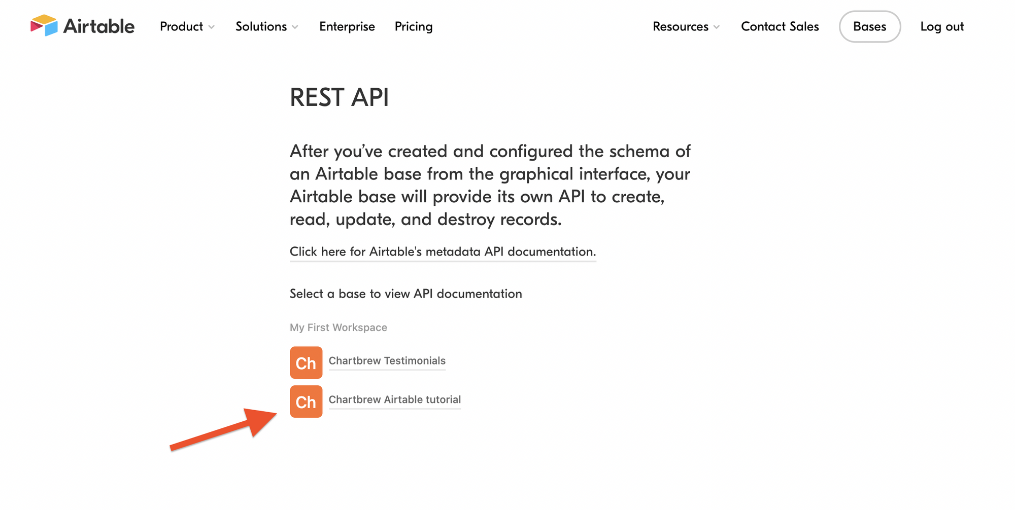Preparing Airtable base for the Chartbrew integration