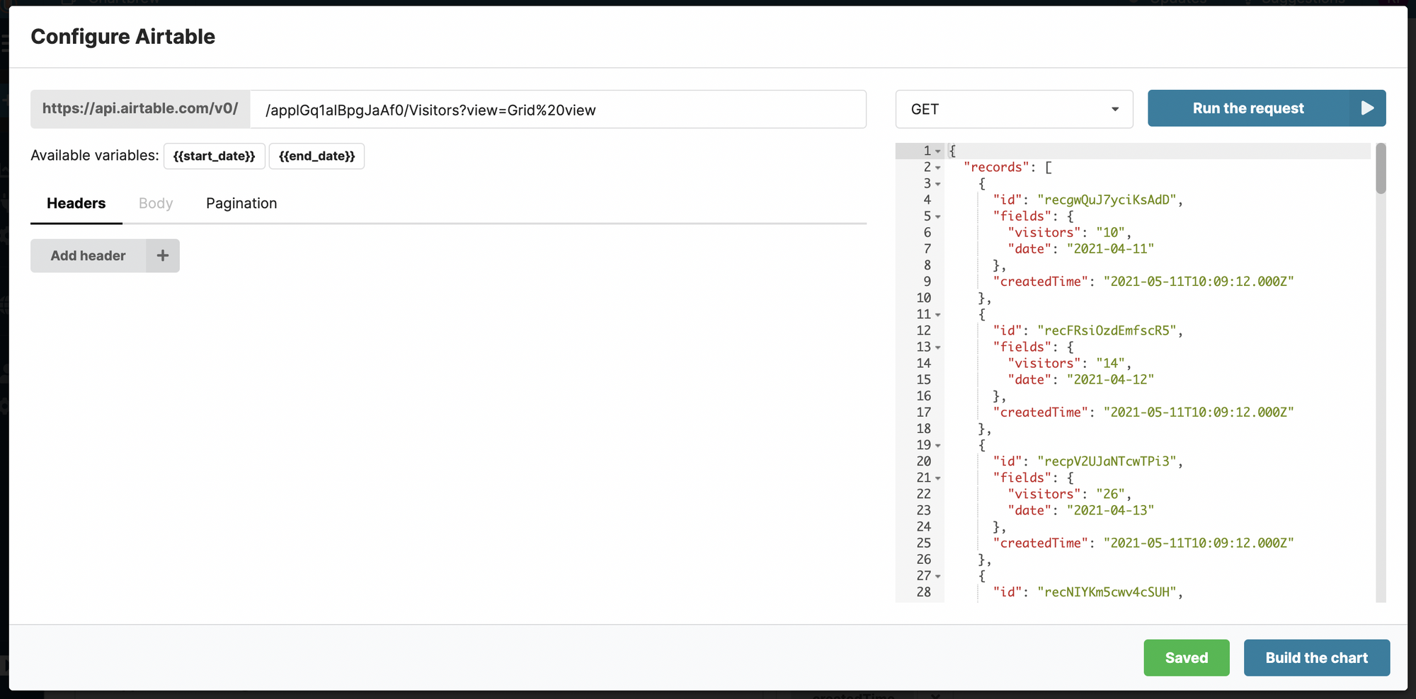 Airtable JSON data in Chartbrew