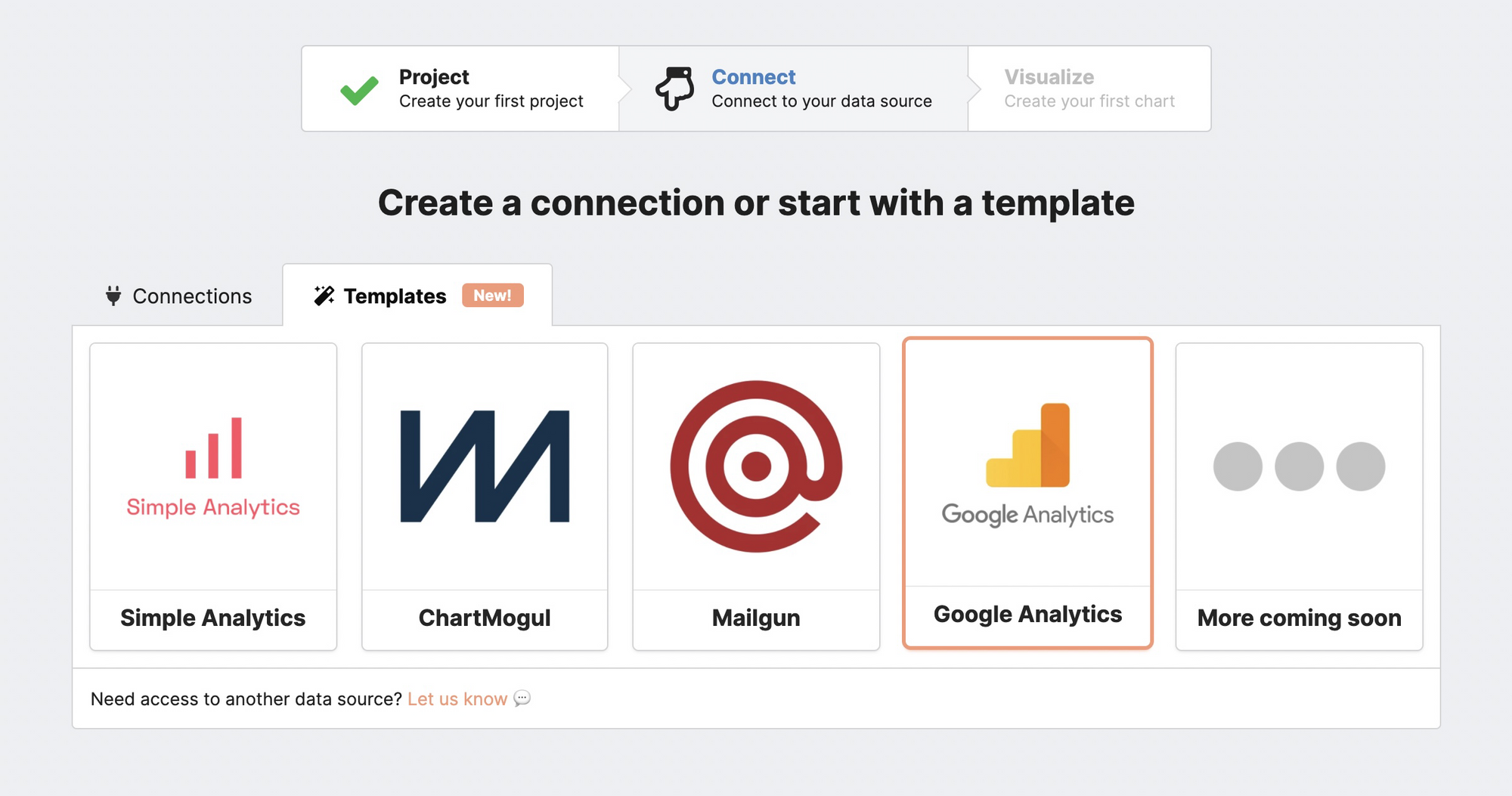 Google Analytics template option from Chartbrew