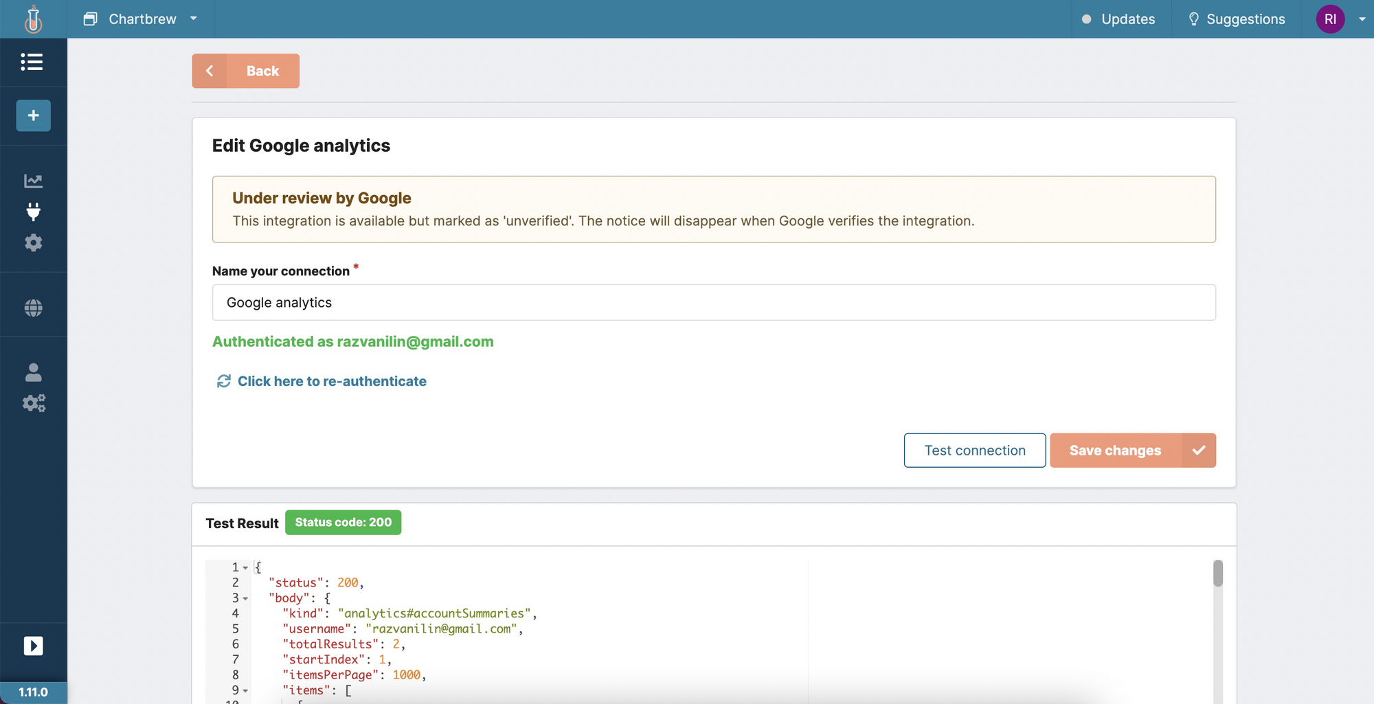 Google analytics integration with Chartbrew