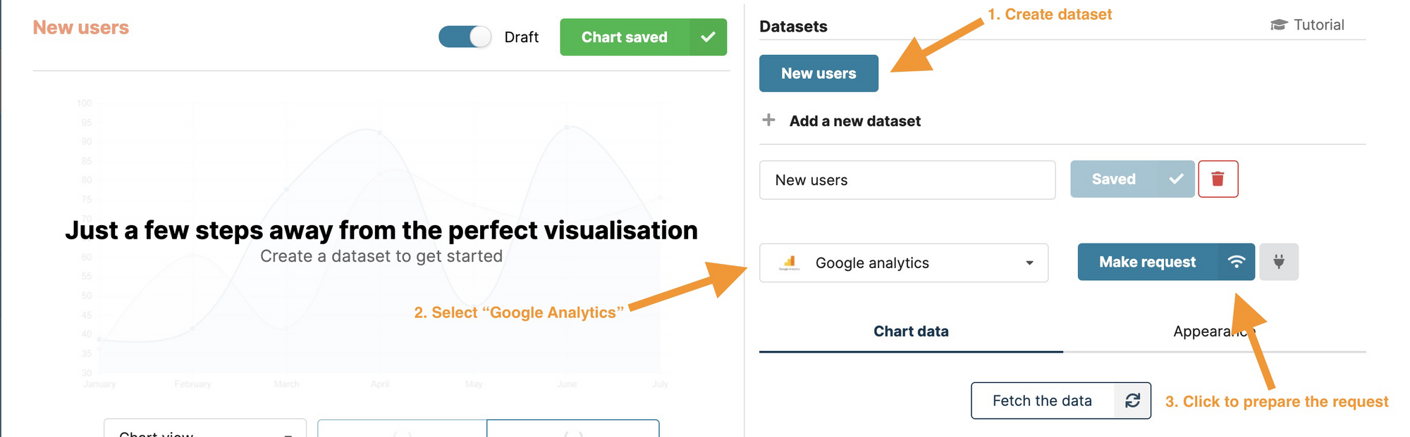 Create a new dataset in Chartbrew