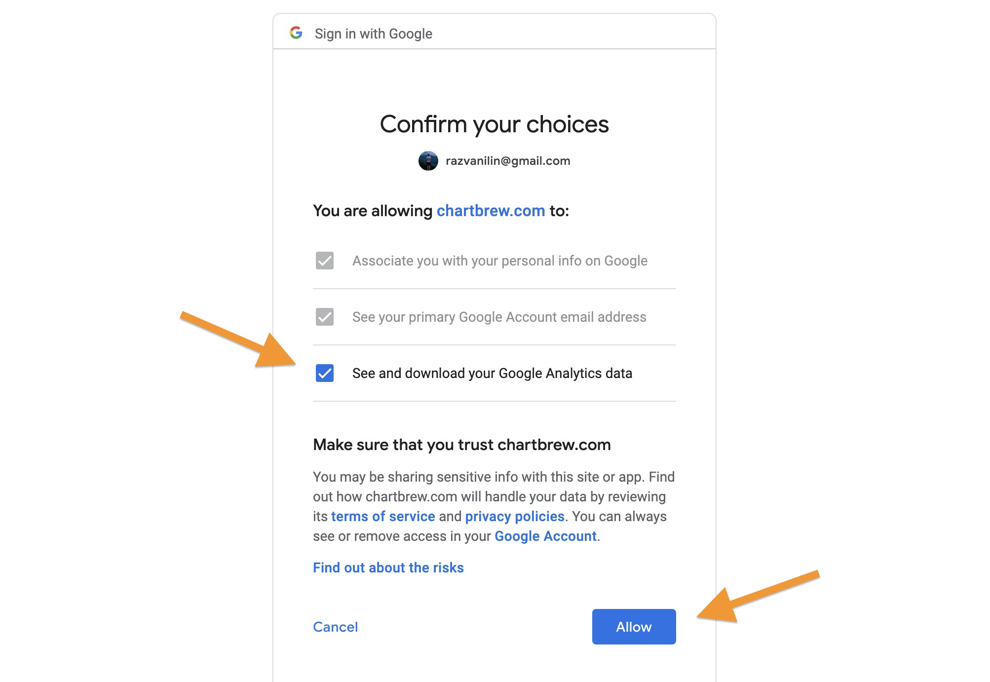 Authentication process for Google Analytics with Charbrew