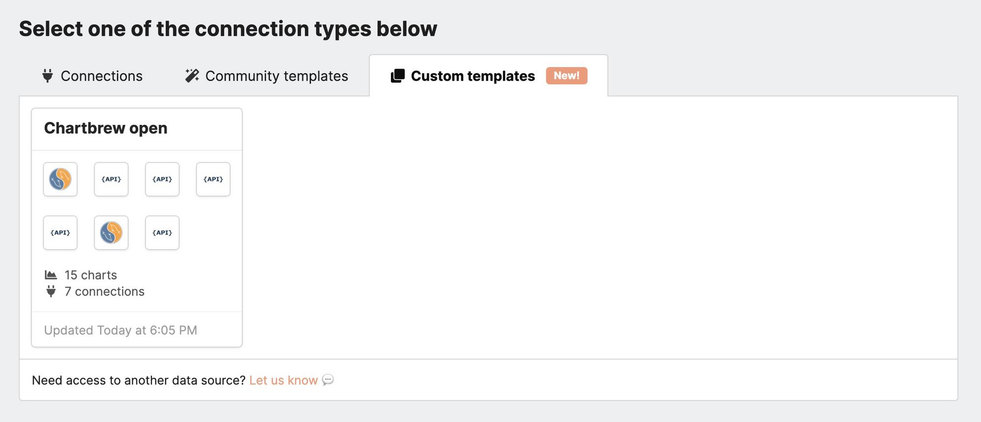 List of custom templates in Chartbrew